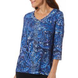 Gloria Vanderbilt Petite Teegan Embellished Paisley Top