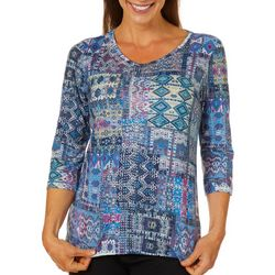Gloria Vanderbilt Petite Teegan Patchwork Embellished Top