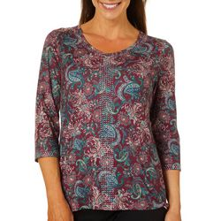 Gloria Vanderbilt Petite Teegan Paisley Pizzazz Jeweled Top