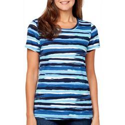 Gloria Vanderbilt Petite Margaret Painted Stripe Top