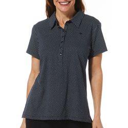 Gloria Vanderbilt Petite Annie Polka Dot Print Polo Shirt