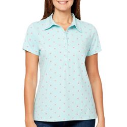 Gloria Vanderbilt Petite Annie Palm Tree Print Polo Shirt