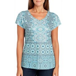 Gloria Vanderbilt Petite Medallion Tile Print Top