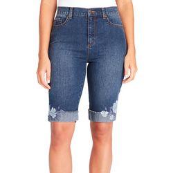 Gloria Vanderbilt Petite Amanda Floral Cuff Bermuda Shorts