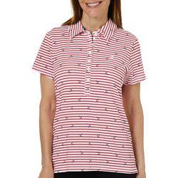 Gloria Vanderbilt Petite Annie Anchor Striped Polo Shirt
