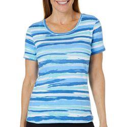 Gloria Vanderbilt Petite Brushstroke Stripe Top