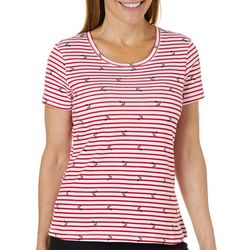 Gloria Vanderbilt Petite Striped Anchor Print Top
