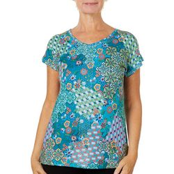 Gloria Vanderbilt Petite Opal Mosaic Embellished Top