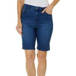 Gloria Vanderbilt Petite Amanda Button Hem Bermuda Shorts