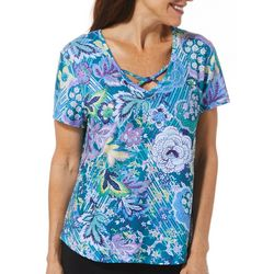Gloria Vanderbilt Petite Joli Embellished Floral Print Top