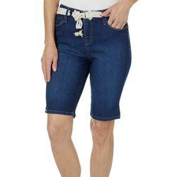 Gloria Vanderbilt Petite Joslyn Rope Belt Bermuda Shorts
