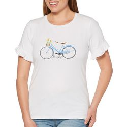 Rafaella Petite Bon Voyage Bicycle Short Sleeve Top