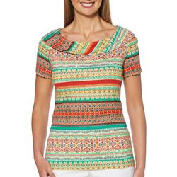 Rafaella Petite Mixed Geometric Stripe Marilynn Neck Top