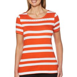 Rafaella Petite Embellished Horizontal Stripe Top