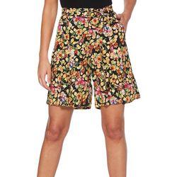Rafaella Petite Lemon Hibiscus Print Tie Waist Shorts