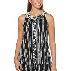 Rafaella Petite Mixed Floral Striped Sleeveless Top