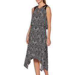 Rafaella Petite Geometric Floral Print Popover Dress