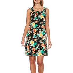 Rafaella Petite Reversible Tropical Floral Stripe Dress