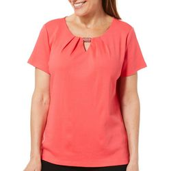 Rafaella Petite Solid Keyhole Bar Short Sleeve Top