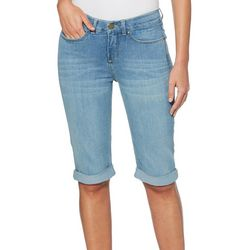 Rafaella Womens Solid Roll Cuff Denim Bermuda Shorts