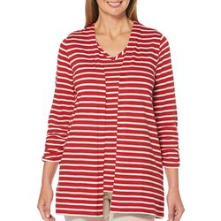Rafaella Petite Striped Open Front Cardigan