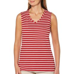 Rafaella Petite Striped V-Neck Shell Tank Top