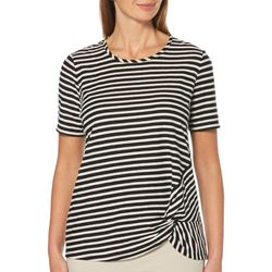 Rafaella Petite Striped Side Knot Detail Short Sleeve Top