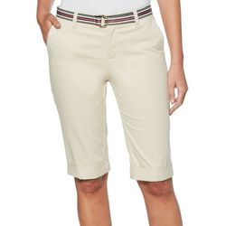 Rafaella Petite Solid Twill Belted Bermuda Shorts
