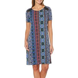 Rafaella Petite Mixed Geometric Print Shift Dress