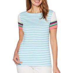 Rafaella Petite Horizontal Stripe Print Top
