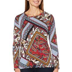Rafaella Petite Geometric Patchwork Long Sleeve Top