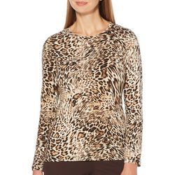 Rafaella Petite Leopard Print Round Neck Long Sleeve Top
