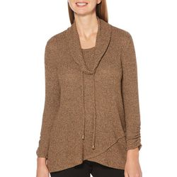 Rafaella Petite Solid Cowl Neck Ribbed Knit Long Sleeve Top