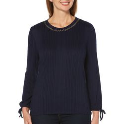 Rafaella Petite Embellished Solid Ribbed Long Sleeve Top