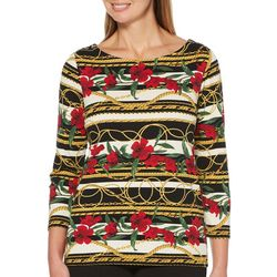 Rafaella Petite Mixed Floral Striped Chain Print Top