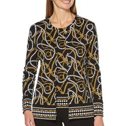 Rafaella Petite Chain Print Button Down Cardigan