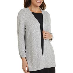 Rafaella Petite Solid Ribbed Open Front Cardigan