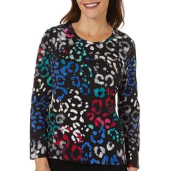 Rafaella Petite Colorful Leopard Print Long Sleeve Top