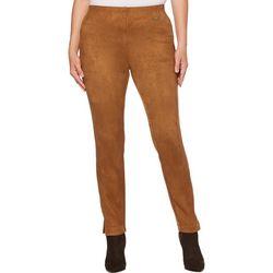 Rafaella Petite Solid Velvet Microfiber Pants