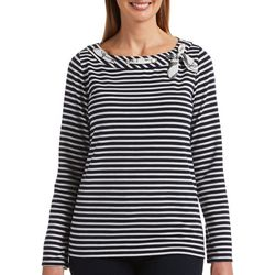 Rafaella Petite Striped Long Sleeve Boat Neck Top