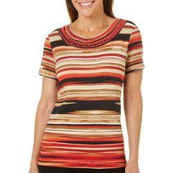 Rafaella Petite Stripe Print Embellished Round Neck Top