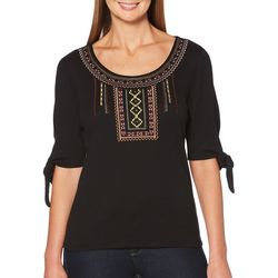 Rafaella Petite Embroidered Tie Sleeve Top