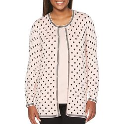 Rafaella Petite Polka Dot Button Down Cardigan