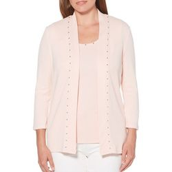 Rafaella Petite Solid Embellished Open Front Cardigan