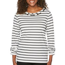 Rafaella Petite Stripe Grommet Lace Neck Top