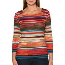 Rafaella Petite Stripe Print Zipper Shoulder Top