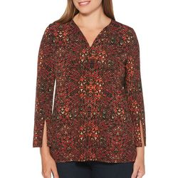 Rafaella Petite Dragon Print Split Sleeve Top