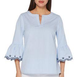 Rafaella Petite Stripes And Dots Short Sleeve Top