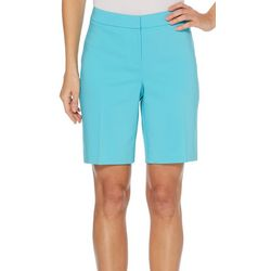 Rafaella Petite Solid Satin Twill Bermuda Shorts