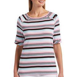 Rafaella Petite Mixed Stripe Print Boat Neckline Top